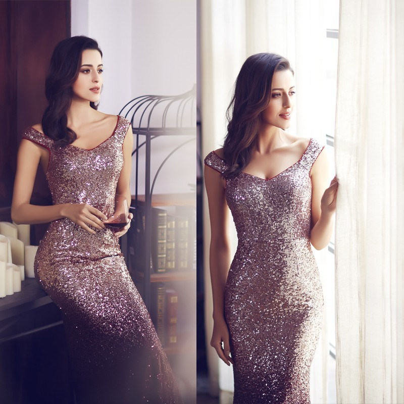 New Burgundy Prom Dresses Long Elegant Sleeveless Scoop Sequined Sparkle Mermaid Party Gowns Sexy Vestido Largo