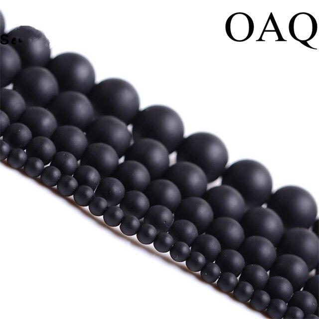 Koraliki z naturalnego kamienia 4-14mm okrągłe matowe hurtownia czarne koraliki matowy połysk Onyx karneol czarne kamienne koraliki do tworzenia biżuterii