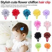 2 PCS Fashion Cute Flower Pumpkin Kids Hair Pins Girls BB Clip Accessories Chiffon Ribbon Child Headwear Gift