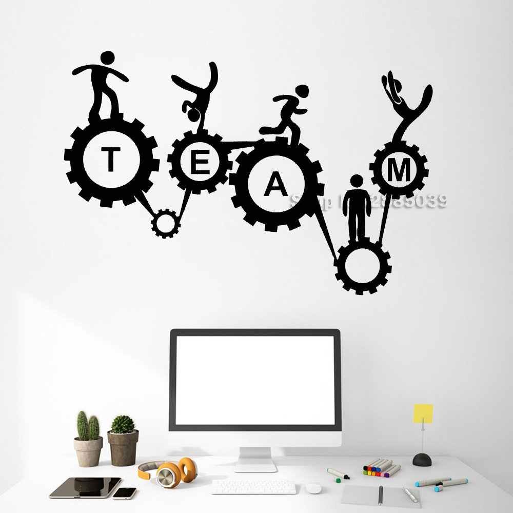 Vinyl Wall Decal Teamwork Office Style Gears Mechanism Wall Stickers Unique Gift Adesivo De Parede Removable Wallpapers LC529