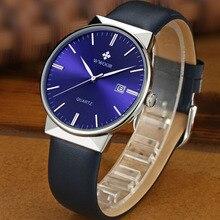 WWOOR Men's Watch Brand Luxury Waterproof Analog Quartz Clock Male Leather Belt Casual Sports Watches Men Blue
