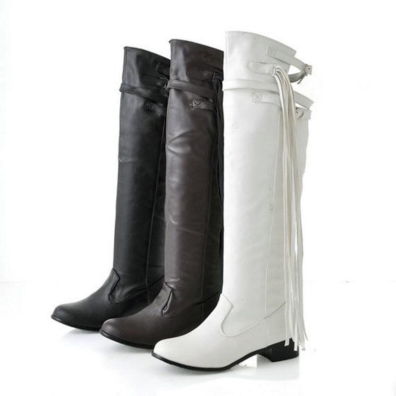 ФОТО Big size US 4-15  New lovely Style PU Tassel Knee high Fashion boots Flat women's shoes MLE-609