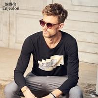 Enjeolon marka kalite o boyun uzun kollu t gömlek adam pamuk 3 renk baskı taban Giyim Üstleri Tee ücretsiz gemi RST7125-1
