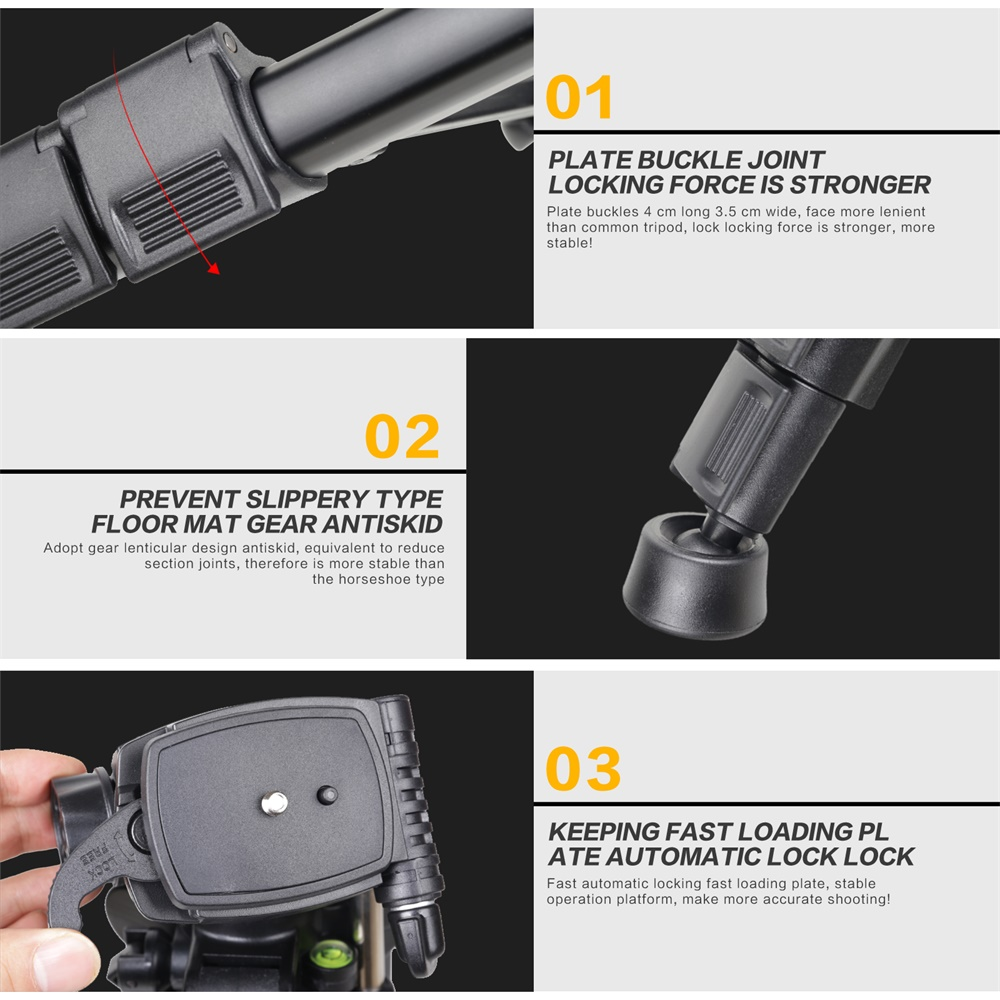 ZOMEI Q111 Camera Tripod Pan Head Professional Portable Travel Aluminum Tripode-5