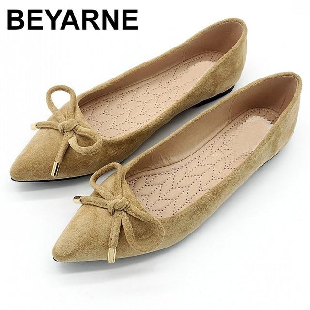 BEYARNEElegant Spring PlusSize Flats Flock Bowtie Womens Flats Pointed Toe Comfortable Lady Woman Flat Shoes Ladies SingleShoes