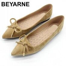 Beyarneelegant Lente Plussize Flats Flock Bowtie Vrouwen Flats Wees Teen Comfortabele Dame Vrouw Platte Schoenen Dames Singleshoes
