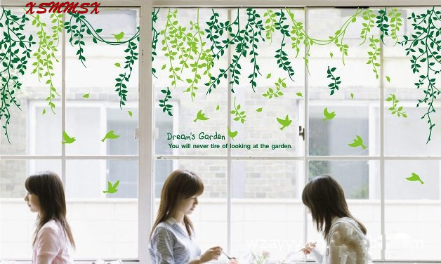 Green tree leaf window glass wall sticker decal home decor removable