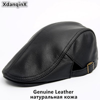 SILOQIN Men's Cowhide Genuine Leather Hat NEW Autumn Winter Warm Beret Fashion Brands Dad Hats Bone Middle aged Flat Berets Cap