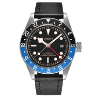 Corgeut 41mm Mens Automatic GMT Watch Black Blue Rotatable Bezel Roseglod Marks Clock Sapphire Glass Watches CA2031RBL
