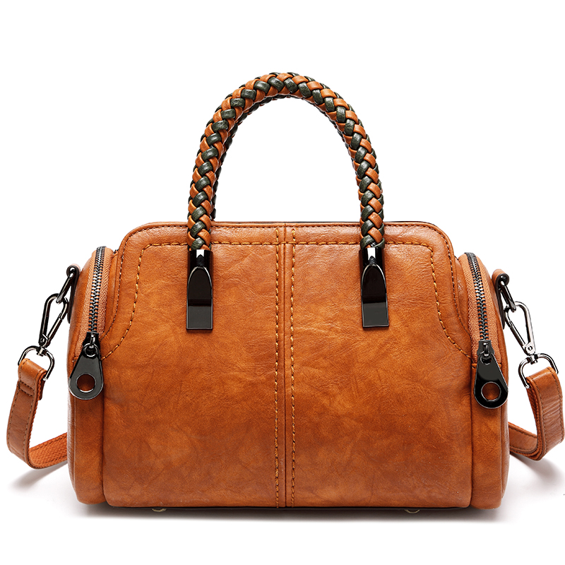 Boston Bag PU Leather Women Handbag Fashion Woven Handle Bag Female Casual Shoulder Bags Black Green