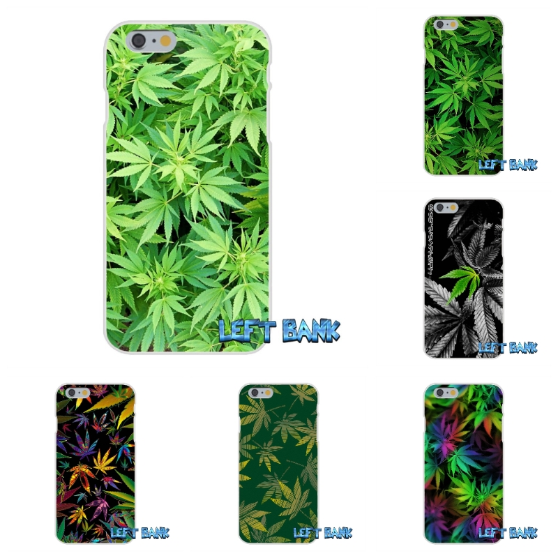 For iPhone 4 4S 5 5S 5C SE 6 6S 7 Plus Cannabis Leaf Pattern Soft Silicone TPU Transparent Cover Case