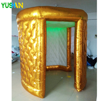 2.2m Gold & white Inflatable Photo booth Party Backdrop stand 2doors with LED strip top Inflatable Tent for Halloween decoration