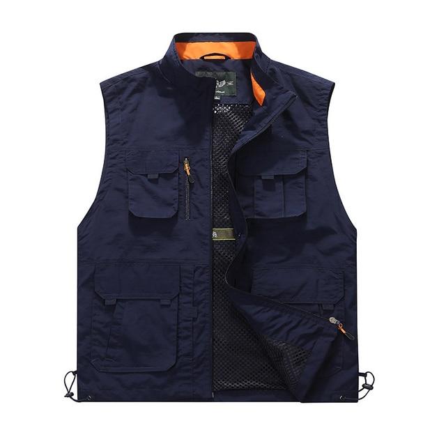 e6e5739e7f1 High Quality 2018 Travels Vest Tops Multi-pockets Vest Photography Waistcoat  Brand Men Casual Vest Multi Functional Work Vest
