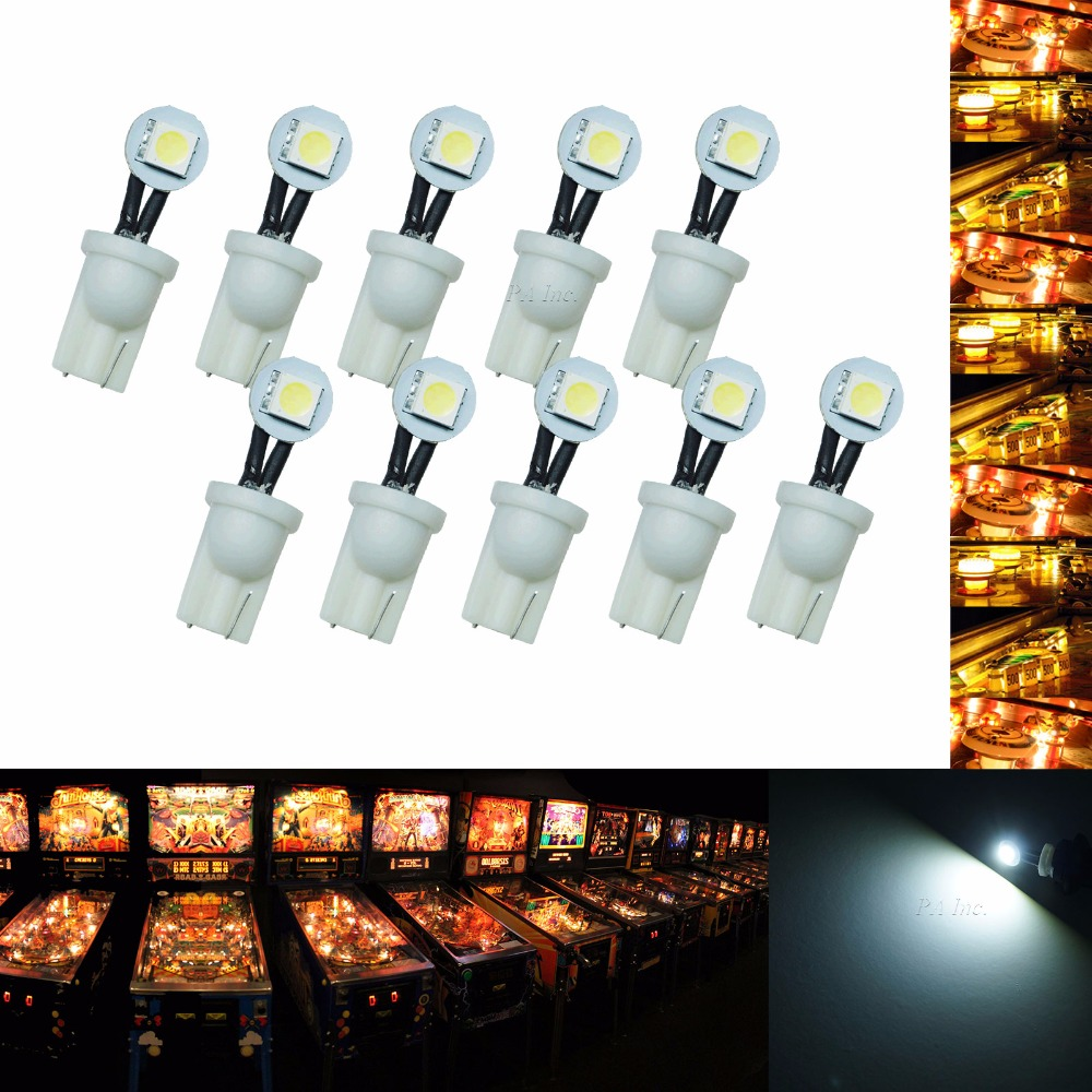 10PCS #555 WHITE *Super Bright* 6.3 volt 4 LED Pinball Machine Light Bulb Lamps