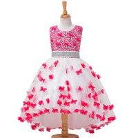 Butterfly Teenagers Embroidery Girls Dress Fashion Kids Wedding Evening Party Diamond Trailing Princess Vestido Juvenil Costume
