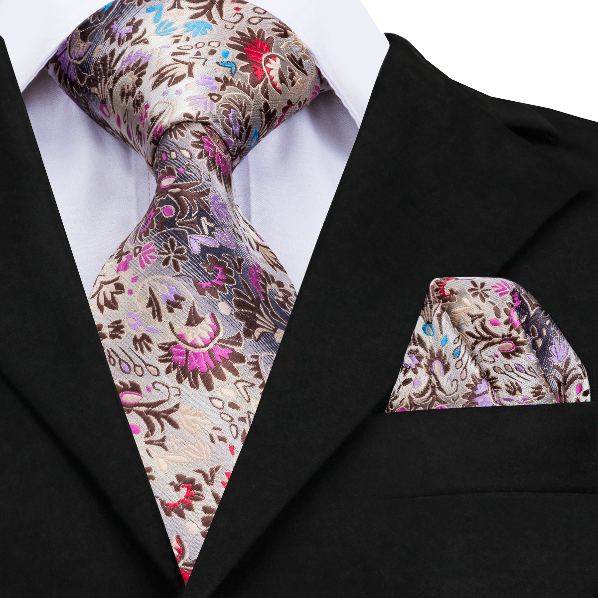 Hi-Tie New Fashion Floral Tie Luxury Silk Ties For Men 160cm Long High Quality Mens Ties Cravatas 8cm Wide Male Neck Tie CZ-006