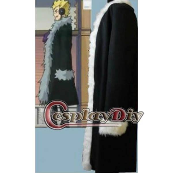 Cosplaydiy Custom Made Fairy Tail Laxus Dreyar Black Men Coat Anime Cosplay Costume Clothing