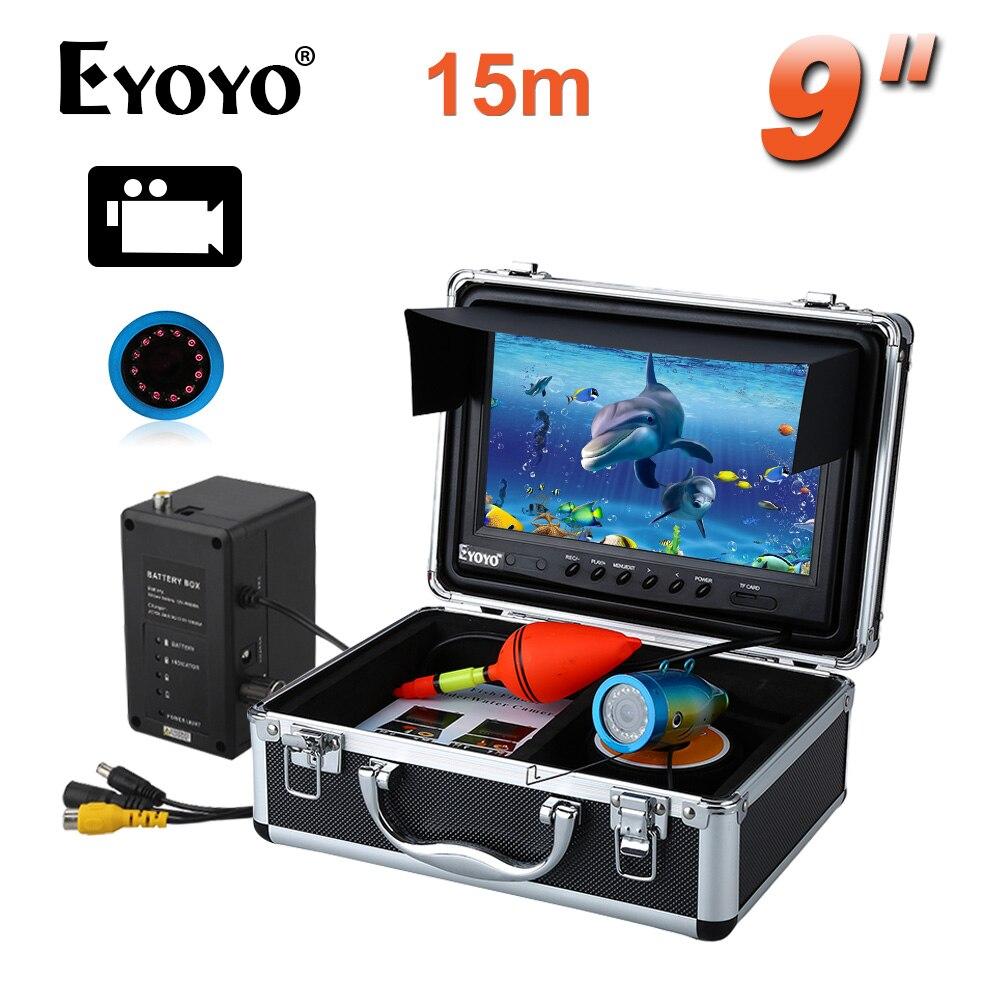 Livraison gratuite! EYOYO WF09 15 m Fish Finder 8 GBIR 9 LCD 1000TVL De Pêche Caméra DVR Enregistreur Pare-Soleil