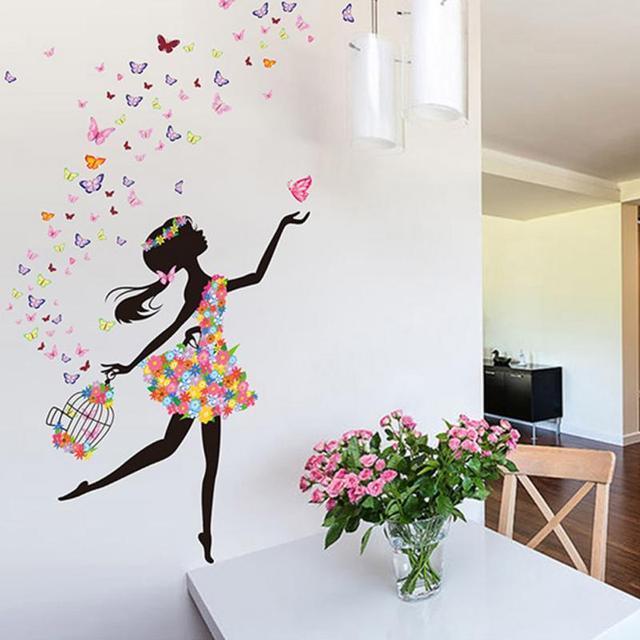 graceful butterflies & flower fairy dancing girl wall stickers on