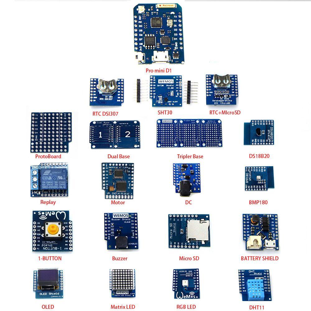 20 EN 1 KITS D1 mini Pro (V1.1.0) kit d'apprentissage et MINI D1 (OLED buzzer micro SD BMP180 WS18B20 1-bouton DHT11 relais...)