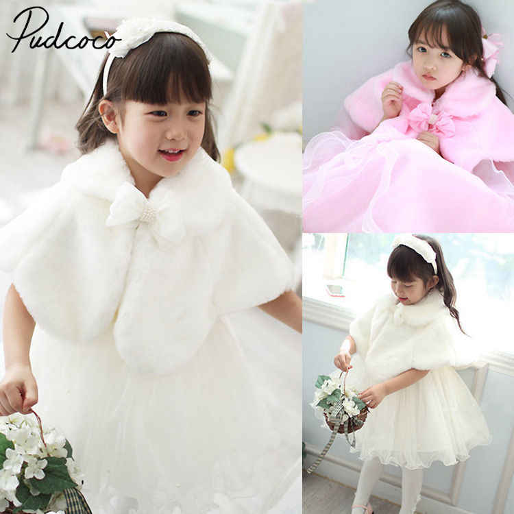 Helen115 Pretty Kid Baby Meisjes Solid White Faux Fur Cape Wrap Schouderophalen Shawl Jas 2-13years