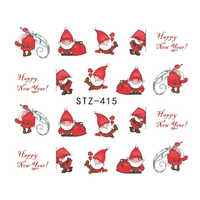 1 blatt Weihnachten Santas Schneeflocke Schneemann Mixed Designs DIY Aufkleber Wasser Transfer Nagel Kunst Aufkleber Nägel Decals JISTZ415-436