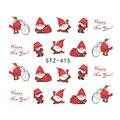 1 лист рождественские Санты снежинка снеговик смешанный дизайн DIYSticker переноса воды ногтей наклейки для ногтей JISTZ415-436 - фото