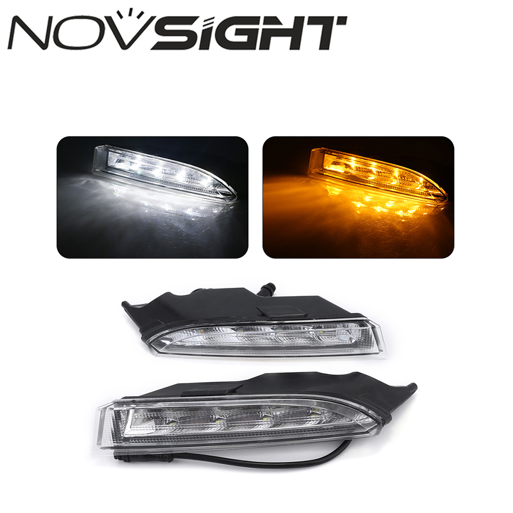 NOVSIGHT Auto LED Daytime Running Lights DRL With Yellow Turn Signal for VW Scirocco R 2010~14 1set car accessories daytime running lights with yellow turn signals auto led drl for volkswagen vw scirocco 2010 2012 2013 2014