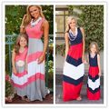 Verano vestidos de madre e hija madre e hija de ropa de algodón de la raya de la familia look fashion vestidos de madre e hija ropa