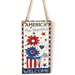 Image 1 - Vintage Wooden Hanging Plaque America The Beautiful Sign Board Wall Door Home Decoration Independence Day Party Gift