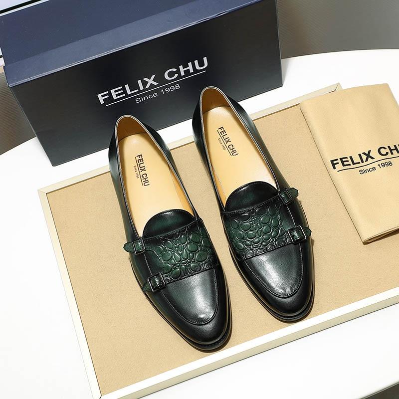 Sangle Cuir Mocassins Le Brown Brun Chu Véritable Double Mariage Chaussures Mens Slip green Luxe Vert Moine De Sur Casual Felix Hommes Robe qYc4zWRR