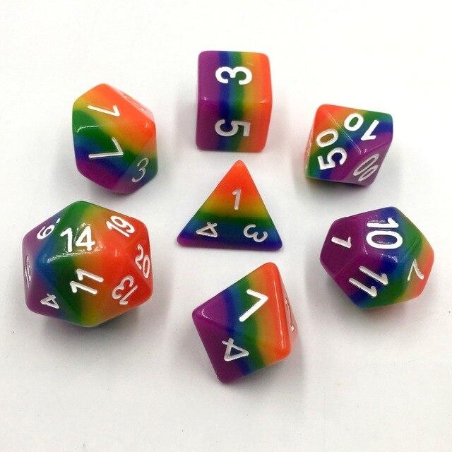 Rainbow Rollooo Poliédrica Dos Dados DND Dungeons And Dragons D4 D6 D8 D10 D00 D12 D20 Conjunto de 7