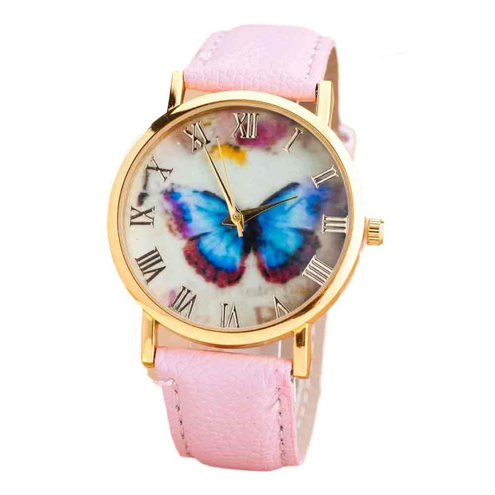 Practical Womens Butterfly Style Leather Band Analog