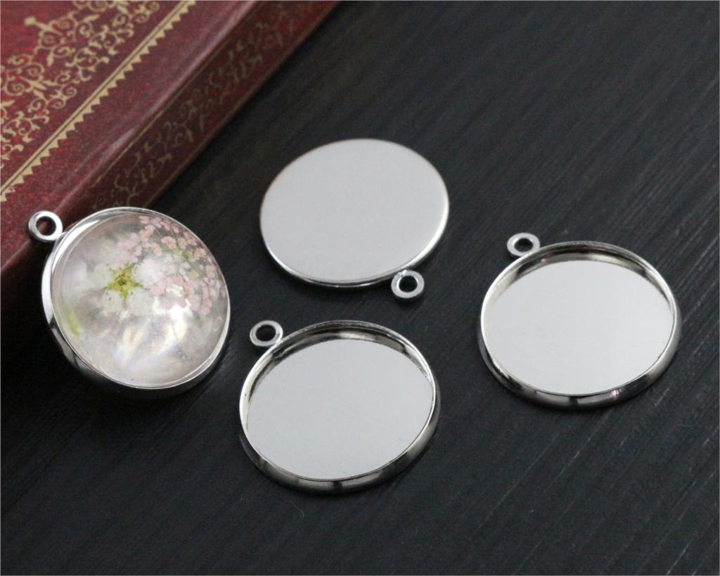 20pcs 20mm Inner Size Stainless Iron Material Rhodium Color Plated Simple Style Cabochon Base Cameo Setting Pendant Tray (S2-27)20pcs 20mm Inner Size Stainless Iron Material Rhodium Color Plated Simple Style Cabochon Base Cameo Setting Pendant Tray (S2-27)