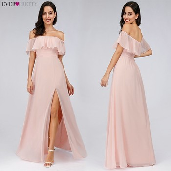 Prom Dresses Long Ever Pretty Elegant Off-shoulder A-line Leg Slit Wedding Guest Dresses Sexy Purple Chiffon Long Party Gowns 2