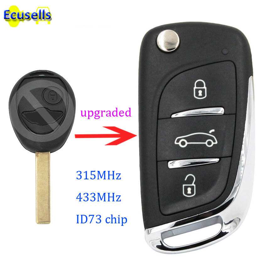 Upgraded DS Style Remote Key for BMW Mini Cooper 75 2002-2005 315mhz ID73 Chip