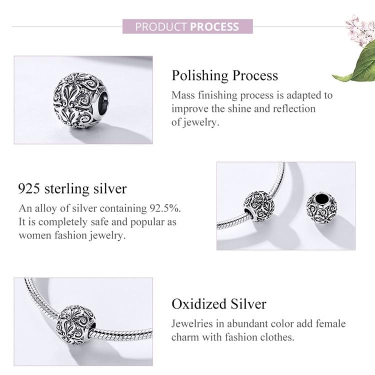HTB1FQh0S9zqK1RjSZFjq6zlCFXav BAMOER Metal Round Beads for Jewelry Making 925 Sterling Silver European Engraved Pattern Silver Charm for 3mm Bracelet SCC1179