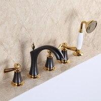 2017 Wholesale New Arrival Premium Luxurious Home Decor Antique Brown 5pcs Tub Faucet Bathtub Fillers Bath