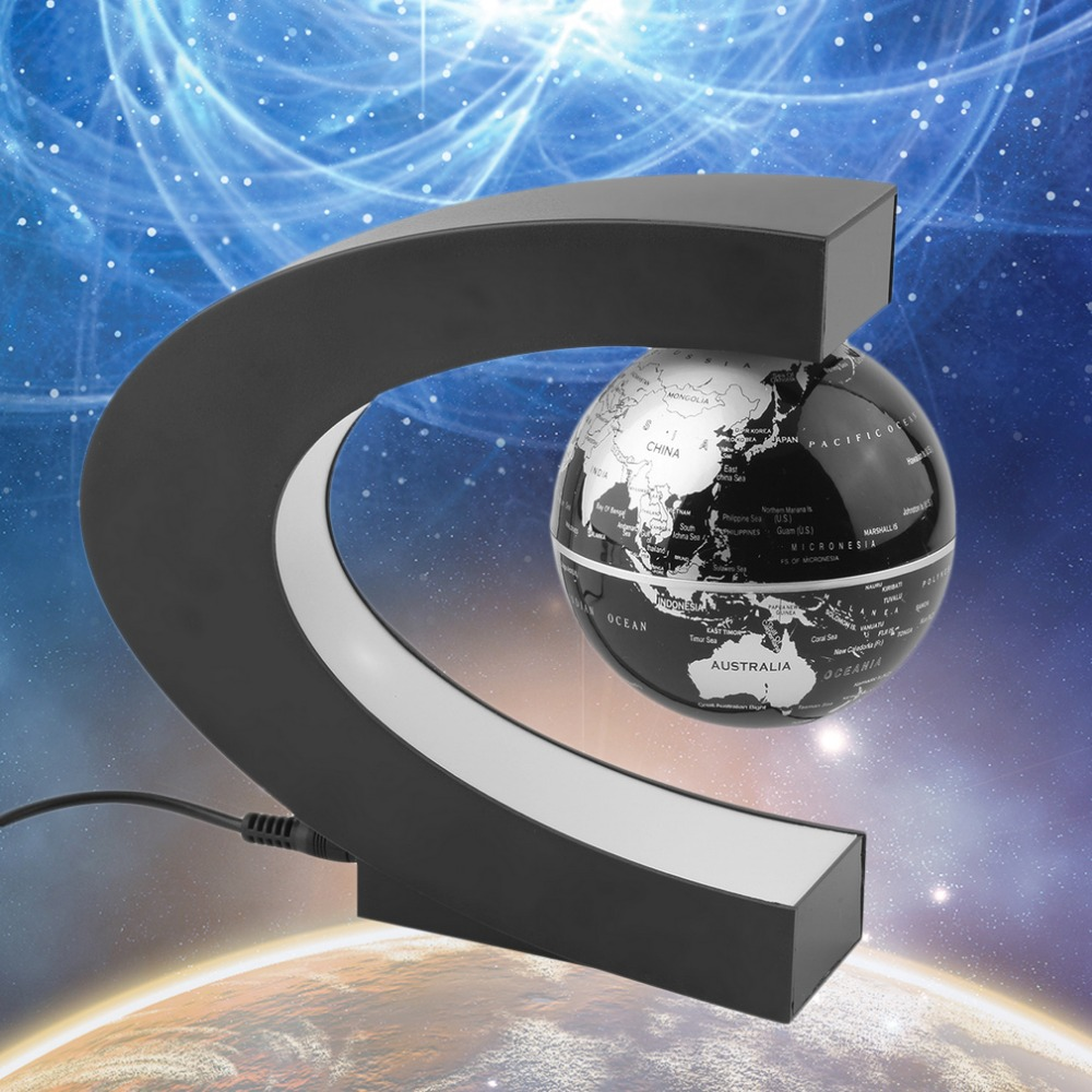 Hot Magnetic Levitation Floating Globe C shape World Map Anti-gravity earth Globe LED Light Home Decoration Santa Birthday Gift magnetic floating levitation 3d print moon lamp led night light 2 color auto change moon light home decor creative birthday gift