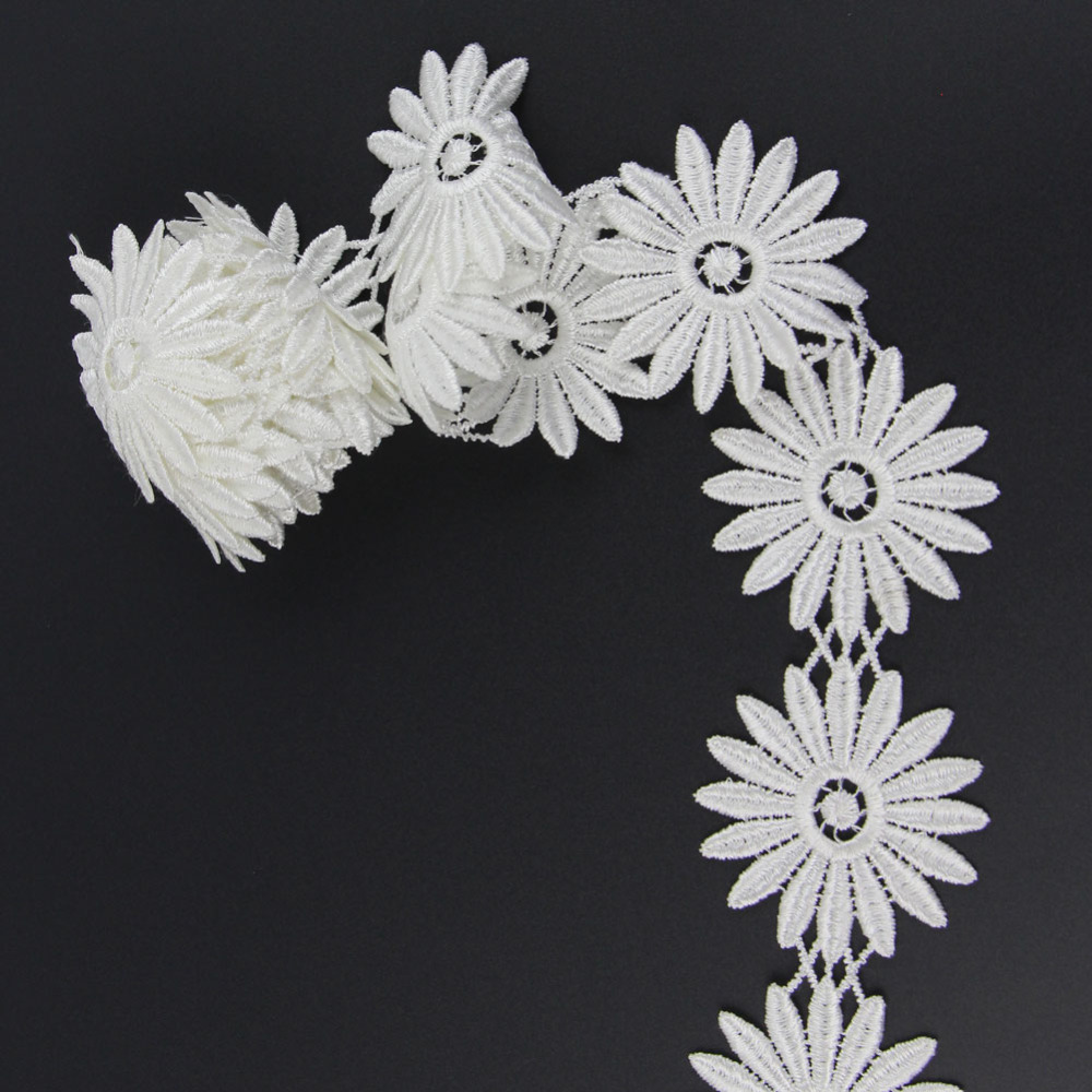 2yds 61mm Off White Fabric Flower Venise Venice Lace Trim Applique