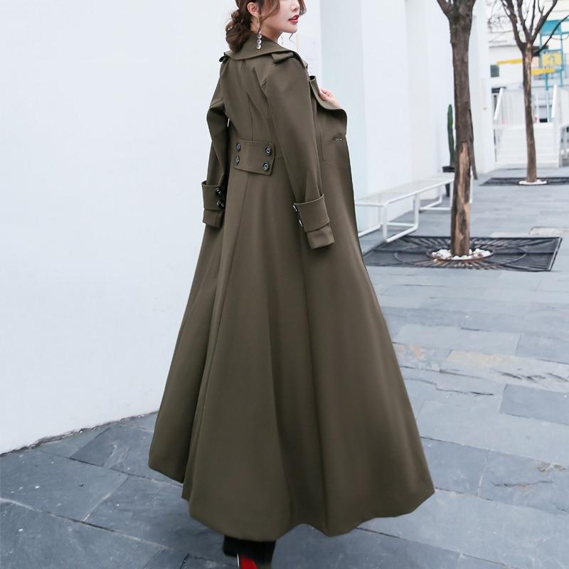 X Femmes Tranchée Automne Bureau vent armygreen D'affaires Les Pour Plus Coupe Mince Printemps 2018 La Élégant Manteau Femelle Black Taille Survêtement long ZxnPw