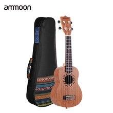 Ammoon – Ukulele acoustique de 21 pouces, avec sac de 21 pouces, corps de Sapele, touche en bois de rose, 15 frettes, 4 cordes
