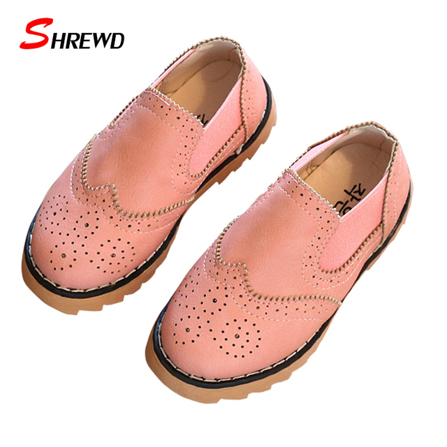 Shoes For Girls New 2017 Spring Casual Simple Solid Color Kids Shoes For Girl Pu Leather Kids Shoes Insole 15.5-21.8cm 9577Z
