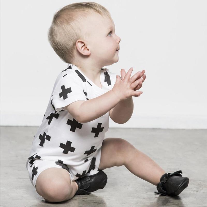 Mamelucos de la impresión cruzada pequeños algodón mameluco de las - Ropa de bebé