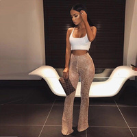 Knitted flare pants for women 2018 Summer new fashion knitting wide leg pants Sexy club party trousers hollow out pantalon femme