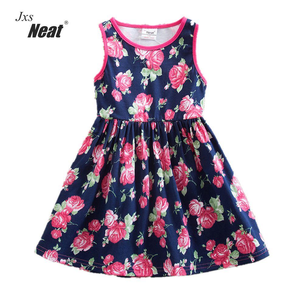 लड़की गर्मियों की पोशाक 2017 NEAT बेल्ट बेल्ट मुद्रित कपास छोटे गोल कॉलर लड़की कपड़े आरामदायक फैशन लड़की बिना आस्तीन का ड्रेस SH6296