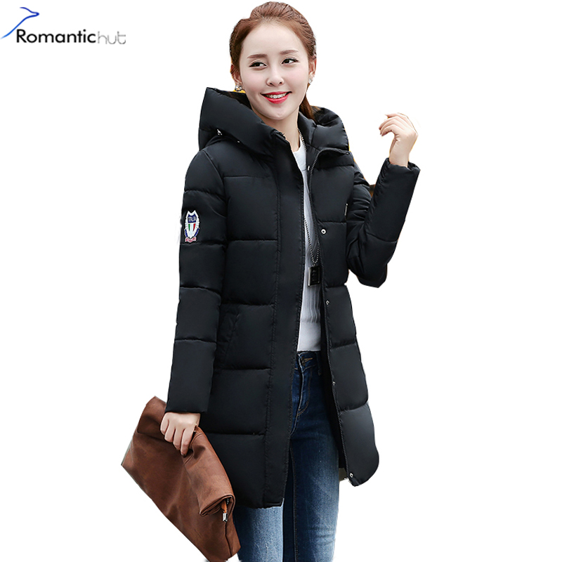 Romantichut 2017 New Long Parkas Female Hooded Thick Coat Down Cotton Winter Jacket fashion Warm Women Outerwear Plus Size 3XL women winter jacket 2017 new fashion ladies long cotton coat thick warm parkas female outerwear hooded fur collar plus size 5xl
