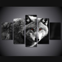 5 Pcs/Set Framed HD Printed Red Eyed Wolf Animal Picture Wall Art Canvas Print Room Decor Poster Canvas Pictures Painting