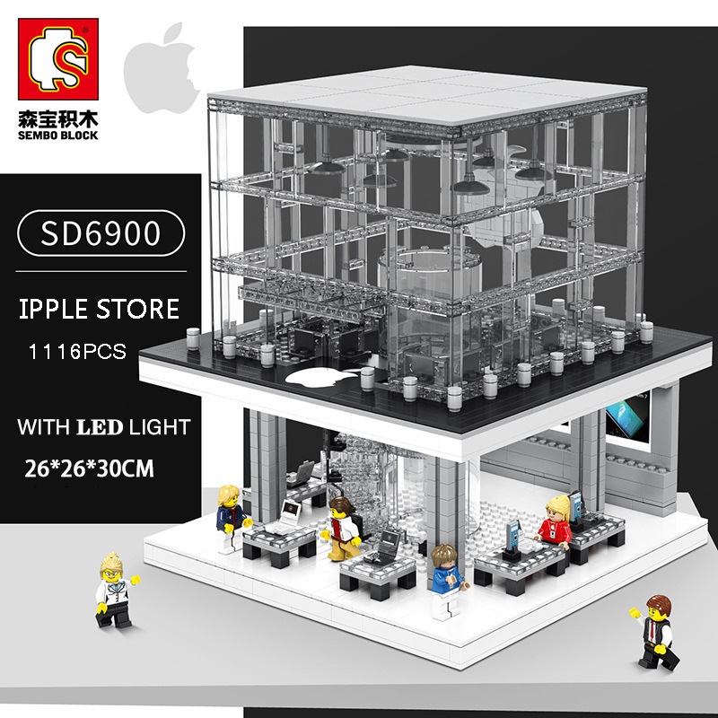 Sembo City Street View SD6900 Apple Store Compatible Legoing Creator Building Blocks Bricks Model Toys With Led Light Diy GiftsSembo City Street View SD6900 Apple Store Compatible Legoing Creator Building Blocks Bricks Model Toys With Led Light Diy Gifts
