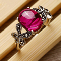 925 Sterling Silver Ring Corundum Red Green Agate Natural Stone Jewelry With Butterfly Shape For Women Gift